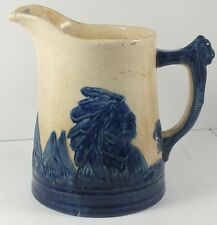 Antique Stoneware Old Sleepy Eye Pitcher With Embossed Indian Chief, Teepees