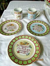 At home with Mary Englebreit 3 salad plates & 2 mugs Encesco