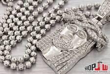 "Simulated Diamond Jesus Piece 24"" Ball Chain Set .925 Silver Mens Hip Hop Iced"