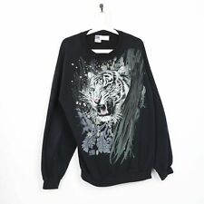 Vintage Animal Planet Graphique Imprimé Tigre Sweat XL Noir