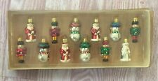 Vtg Miniature 12 Christmas Ornaments Set Kurt Adler Snowman Santa Nutcracker NOS