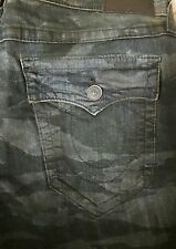 True Religion – Relaxed Straight Tiger Camo Mens Jeans + Flap Pockets 33 NWT