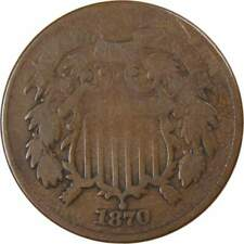 1870 Two Cent Piece G Good Bronze 2c US Type Coin Collectible