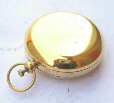 Brass Push Button Nautical Compass Sundial Pocket Maritime Working Compass A