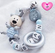 Greifling mit Namen ♥ Teddy ♥ Glocke ♥ Babygeschenk Junge Geburt ♥Bruder