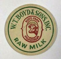 Vintage Milk Bottle Cap W. T. Boyd & Sons Inc Boyd Farm Raw Milk & Cream Dairy