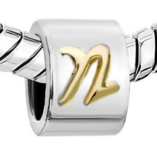 Pugster European charm-  Silver Charm with Letter N Initial Raised in Gold