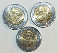 2010 MEXICO BIMETALLIC 5 PESOS coins COMMEMORATIVE set lot collection BU