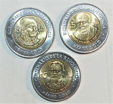 2010 MEXICO lot J BIMETALLIC 5 PESOS coins COMMEMORATIVE set collection BU