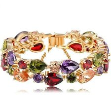 Sparkly Shiny Rose Gold Plated Multi Coloured Zircon Bridal Gift Bracelet Bangle