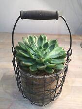 Hanging Glass Lantern Wire Mesh Tea Light Candle Holder Vintage Vase Planter pot