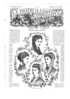 MODE ILLUSTREE SEWING PATTERN April 18 1869 - Dress, Hats, Blouse