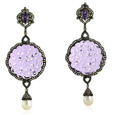 60.7ct Gemstone Gold Diamond 925 Sterling Silver Dangle Earrings Carving Jewels