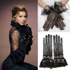 Retro Women Lady Fishnet Mesh Net Wrist Length Black Lace Gloves Evening Party