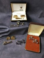 Vintage Gold & Silver Cuff Links & Tie Clip Lot - SWANK Art Deco Mother Of Pearl