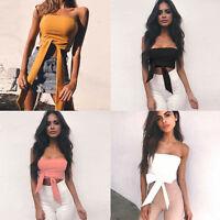 New Womens Ladies Tie Up Halter Neck Plain Crop Top Sleeveless Vest T Shirt Tops