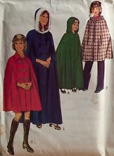 """VINTAGE 1974 'STYLE' GIRL'S CAPE OPTIONAL HOOD SEWING PATTERN 4879 SIZE 10 28""""B"""
