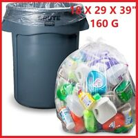 """CLEAR Large Strong Plastic Polythene Bin Liners Waste Bags Sacks18""""x29""""x39 160G"""