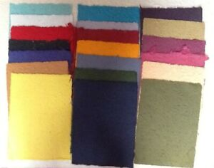 20< A4 sheets MIXED COLOURS mulberry papers THICK TEXTURED new from CRAFTY COW