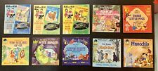 10 Vintage Walt Disney Childrens See Hear Read Along Story Book and Records