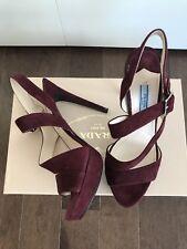 Prada 1200$ Burgundy Strappy Suede Platform Sandals Shoes Size 7.5