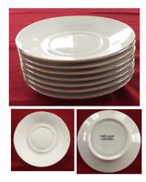 Robert Stanley Dinnerware Saucers HOME FOR CHRISTMAS Ivory, Gold Trim 7-PC Set