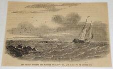 1859 magazine engraving~ SCHOONER, De La Moza set course for Point Galera