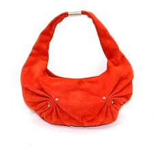 YSL YVES SAINT LAURENT authentic orange suede handbag hobo silver HW small