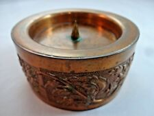 Embossed Copper Pillar Candle Holder for 2.25 Inch Or Smaller Candles Tabletop