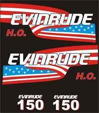 Adesivi motore marino fuoribordoEvinrude 150 hp h.o. bandiera usa nautica