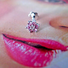 Real PINK TOURMALINE & Diamond Flower Nose Lip Labret Piercing Screw Ring Stud