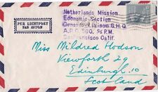 Japan 1950 Cover from USA APO 500 {Japan} Netherlands Mission there to Scotland