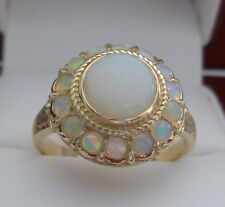 9ct Solid Gold Vintage Insp Ladies Natural Opal Filigree Dome Ring R23