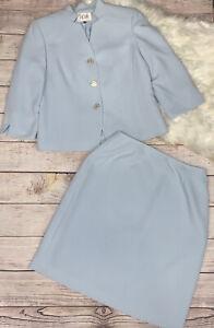 Le Suit 2pc Light Blue Textured Blazer Skirt Suit 12P