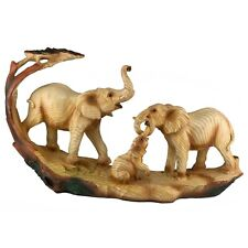 """Elephant Family Faux Carved Wood Look Figurine Statue 12"""" Long Resin New!"""