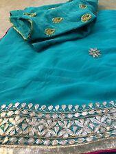 Turquoise Blue Gotapathi Border Chiffon Saree Hand High Neck Work Blouse