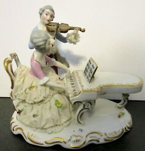 Antique Dresden Lady at Piano, Man with Violin Lace Dress, HP German Figurine