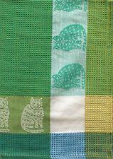 Cat Kitchen Towel | Cotton Waffle Weave | Aqua Green Yellow | Pictorial