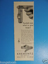 1932 PUZZLED OVER WHAT TO GIVE HIM? KREMENTZ WATCH BAND PHOTO ART AD