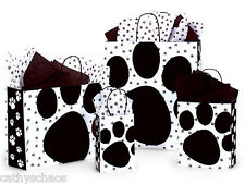 4 Sizes Pooch Paws Black Animal Cat Dog Paw Print 125 Gloss Paper Gift Bags