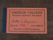 Oberlin College Student Activity Fee Book 1938-39 Athletic Games Olympian Glee