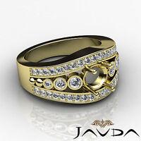 Diamond Engagement Round Huge Ring 0.75Ct 14k Yellow Gold Pre-Set Semi Mount