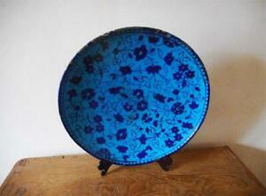 Antique Middle East TOP HIGH AGED LARGE ISLAMIC PERSIAN BLUE SAFAVID DISH