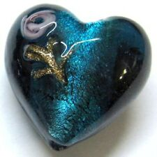 4 Pieces Silver Foil Lampwork Heart Glass Beads - 20mm - A4062