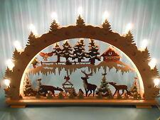 Schwibbogen Lichterbogen Holz Waldtiere, Tiere im Wald farbig bemalt aus Sachsen