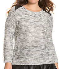 NWT Lane Bryant Textured Sweater with Faux Leather 14/16