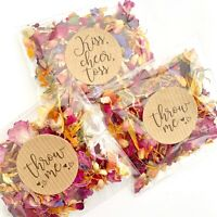 Natural Biodegradable Wedding Confetti Dried Petal Bags PACKETS Red Blue Ivory
