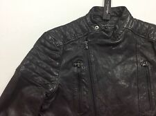 Kenneth Cole New York Men 100% Leather Distressed Moto Biker Rider Coat Jacket L