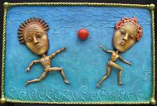 "Original art - ""Playing Red Ball"" - mixed-media 3-D"