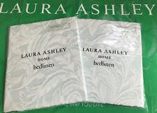 Laura Ashley Fowey Jacquard Duck Egg Housewife Pillowcases x 2 (1 x Pair) - NEW